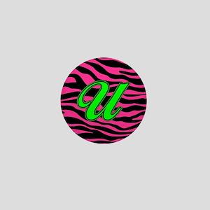 HOT PINK ZEBRA GREEN U Mini Button