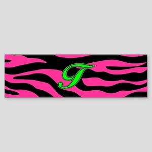HOT PINK ZEBRA GREEN T Bumper Sticker