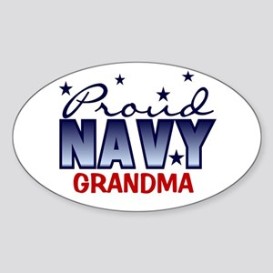 Proud Navy Grandma Oval Sticker