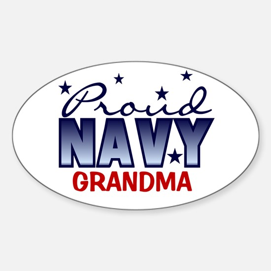 Proud Navy Grandma Oval Decal