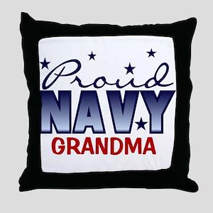 Proud Navy Grandma Throw Pillow