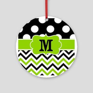 Black Lime Green Chevron Monogram Ornament (Round)