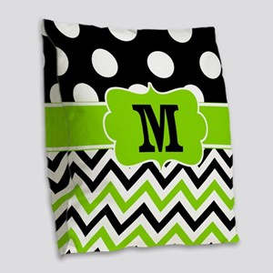 Black Lime Green Chevron Monogram Burlap Throw Pil