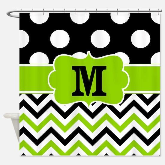 Black Lime Green Chevron Monogram Shower Curtain