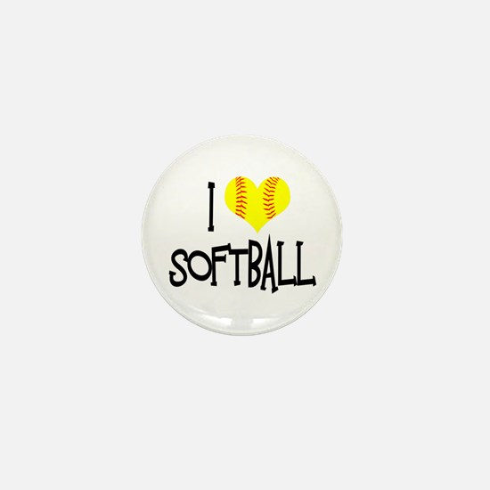 I Love Softball Mini Button