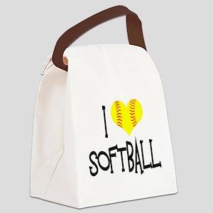 I Love Softball Canvas Lunch Bag