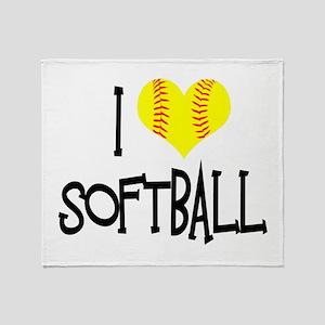 I Love Softball Throw Blanket