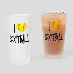 I Love Softball Drinking Glass