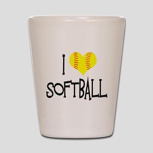 I Love Softball Shot Glass