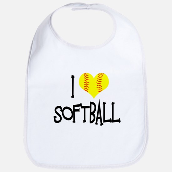 I Love Softball Bib