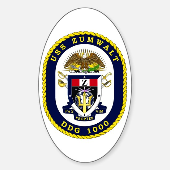 USS Zumwalt DDG 1000 Sticker (Oval)