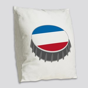 Bottle Cap Burlap Throw Pillow
