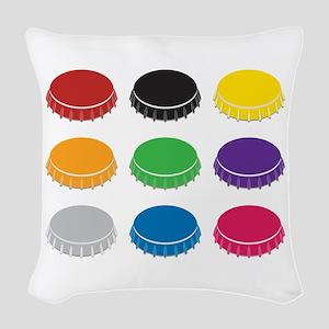 Bottle Caps Woven Throw Pillow