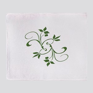 Green Leaves Throw Blanket