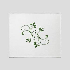 Green Leaves Throw Blanket
