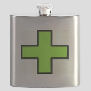 Neon Green Medical Cross (Bold) Flask