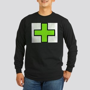 Neon Green Medical Cross (Bold) Long Sleeve T-Shir