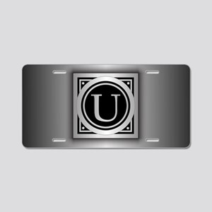Deco Monogram U Aluminum License Plate