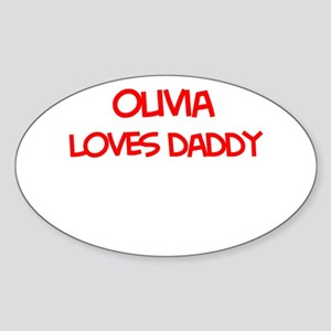 Olivia Loves Daddy Oval Sticker