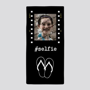 Personalized Selfie Hashtag Frame Beach Towel