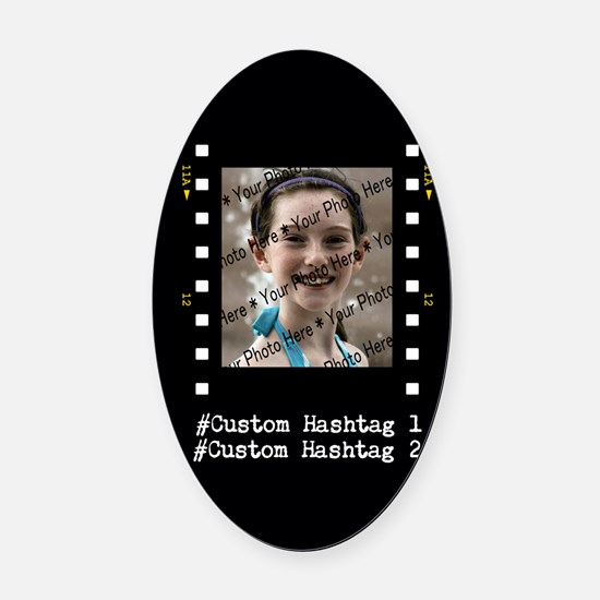 Personalized Selfie Hashtag Frame Oval Car Magnet