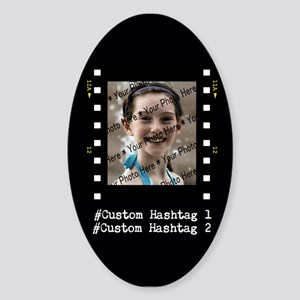 Personalized Selfie Hashtag Frame Sticker (Oval)