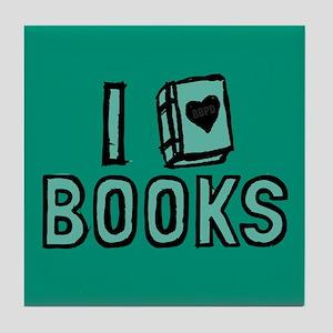 I Heart My Books Tile Coaster
