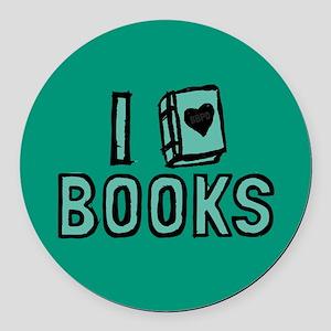 I Heart My Books Round Car Magnet