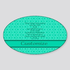 John16:33 The Word Aquamarine Sticker (Oval)