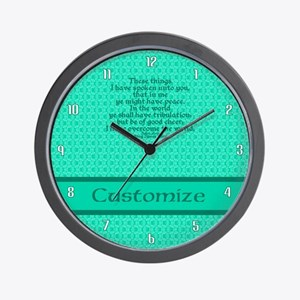 John16:33 The Word Aquamarine Wall Clock