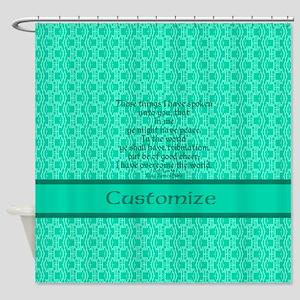 John16:33 The Word Aquamarine Shower Curtain