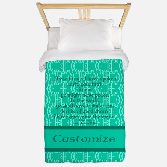 John16:33 The Word Aquamarine Twin Duvet