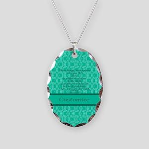 John16:33 The Word Aquamarine Necklace Oval Charm