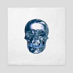 Blue Chrome Skull Queen Duvet