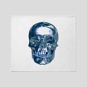 Blue Chrome Skull Throw Blanket