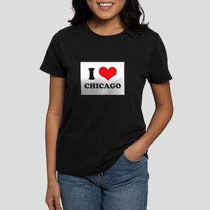 I Love (Heart) Chicago Women's Dark T-Shirt