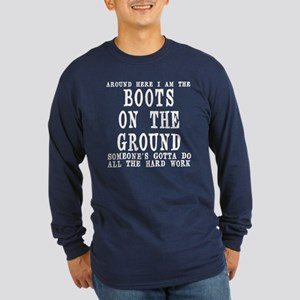 Boots on the Ground Long Sleeve Dark T-Shirt