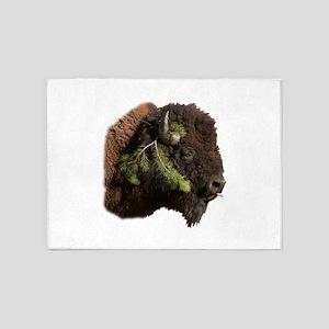 Christmas Bison 5'x7'Area Rug