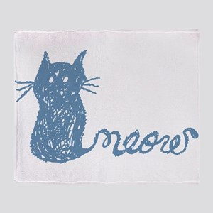 adorable hand drawn cat with tail that says meow T