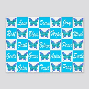 BLUE BUTTERFLY 5'x7'Area Rug