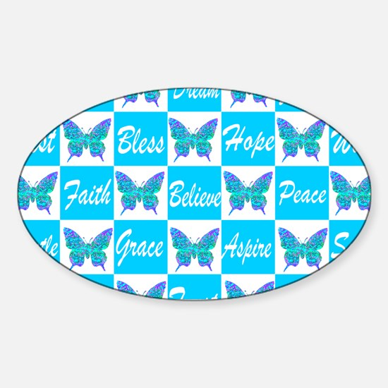 BLUE BUTTERFLY Sticker (Oval)