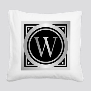 Deco Monogram W Square Canvas Pillow