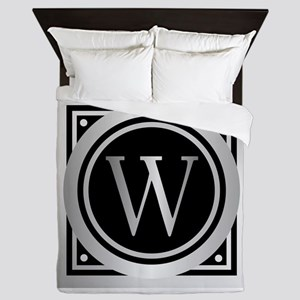 Deco Monogram W Queen Duvet