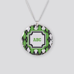 Retro Argyle Necklace Circle Charm