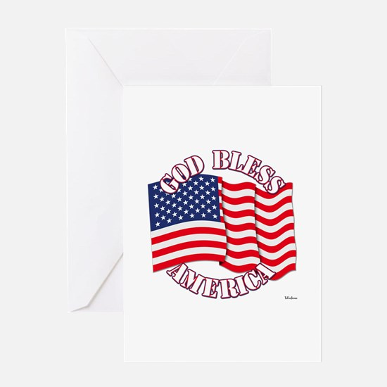 God Bless America With USA Flag Greeting Cards
