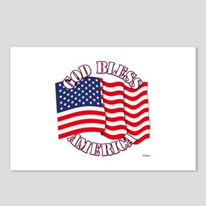 God Bless America With USA Flag Postcards (Package