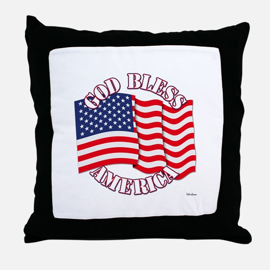 God Bless America With USA Flag Throw Pillow