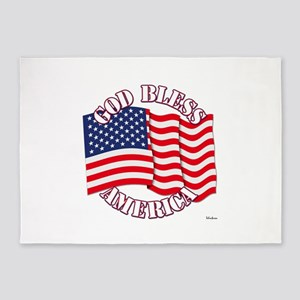 God Bless America With USA Flag 5'x7'Area Rug