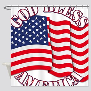 God Bless America With USA Flag Shower Curtain