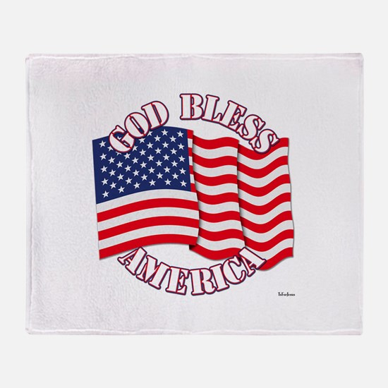 God Bless America With USA Flag Throw Blanket